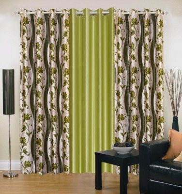 New Trends Polyester Green, Light Green Printed Eyelet Window Curtain