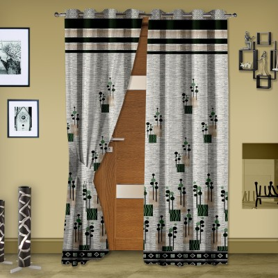 Story @ Home Jacquard Grey Abstract Eyelet Door Curtain