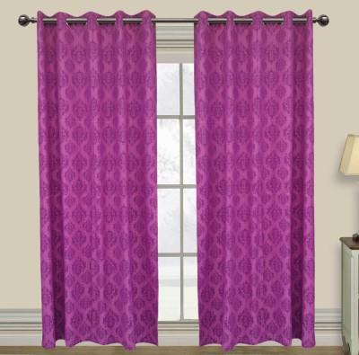 Elan Cotton Purple Motif Eyelet Long Door Curtain