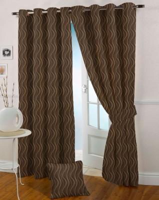 Presto Polycotton Brown Solid Eyelet Door Curtain