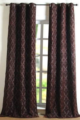 Deco Window Polyester Brown Floral Eyelet Long Door Curtain