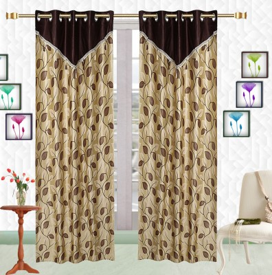 Comfort Zone Polyester Golden Leaf Abstract Eyelet Long Door Curtain
