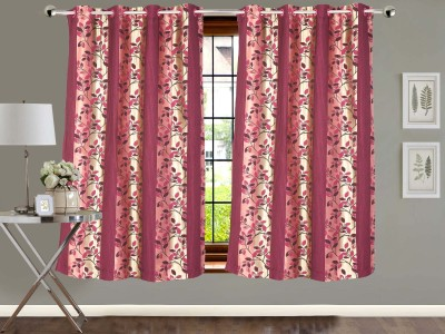 Vivace Homes Polyester Multicolor Floral Eyelet Window Curtain