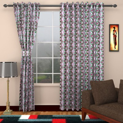 SEVEN STARS Cotton Green/Red Abstract Eyelet Window Curtain