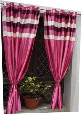 Muren Polyester Pink Self Design Eyelet Door Curtain