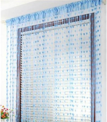 Elsker Polyester Blue Self Design Eyelet Door Curtain