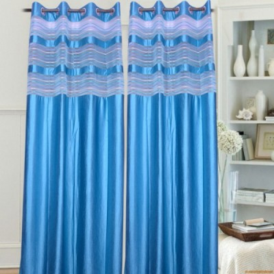 Handloom Hut Polyester Aqua (Sky Blue) Crush Curtain With Tissue Striped Eyelet Door Curtain