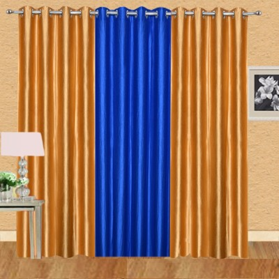 Excel Bazaar Polycotton Golden+1royalblue Plain Eyelet Door Curtain