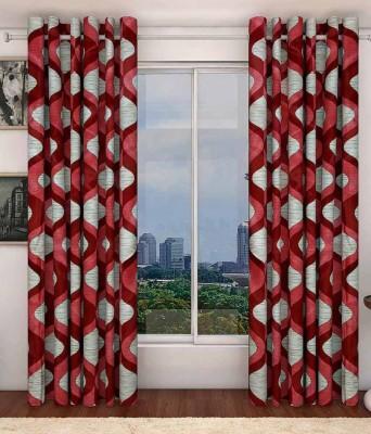K-Star Polyester Maroon Printed Eyelet Door Curtain