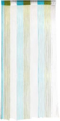 Ramcha Polyester Green, Blue Self Design Rod pocket Door Curtain