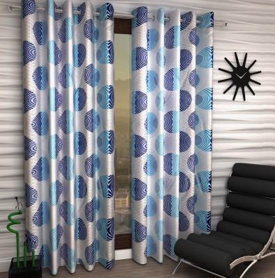 Home Fantasy Polyester Blue Geometric Eyelet Window Curtain