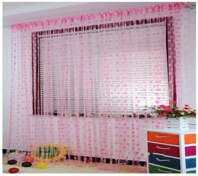 Ramcha Polyester Pink Striped Rod pocket Door Curtain