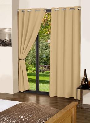 Lushomes Cotton Sand Plain Eyelet Long Door Curtain