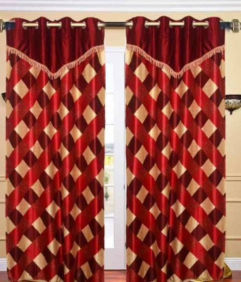 Z Decor Polyester Red Checkered Eyelet Door Curtain