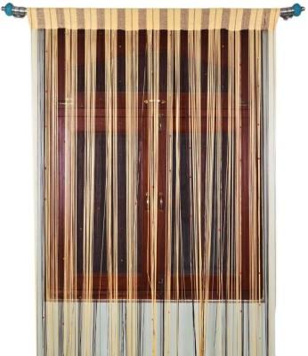 Export Hub Polyester Cream, Black Self Design Rod pocket Long Door Curtain