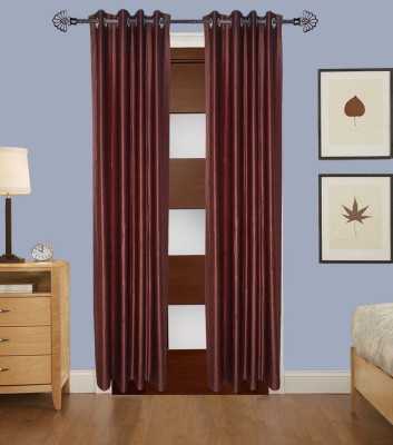 Home Fashion Gallery Polyester Brown Plain Eyelet Long Door Curtain