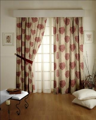 Dreamscape Blends Brown Floral Eyelet Door Curtain