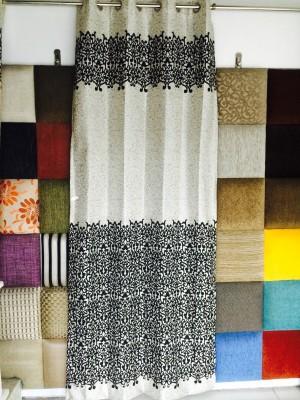 Royal Polyester Black, Cream Abstract Curtain Door Curtain