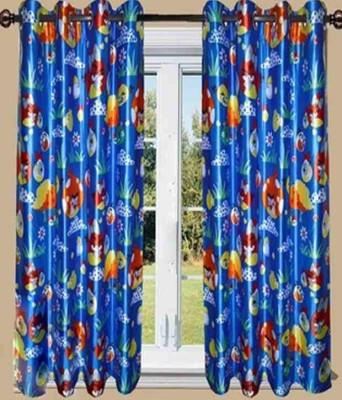 Maya Designs Blends Blue Cartoon Eyelet Window Curtain
