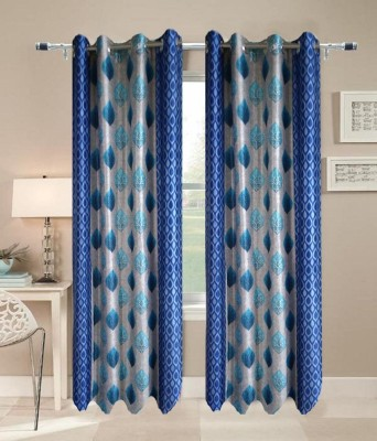 JF Polycotton Blue Printed Eyelet Door Curtain