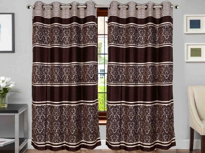 Vivace Homes Jacquard, Polyester Brown Abstract Eyelet Door Curtain