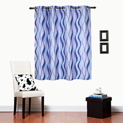 Luk Luck Home Polycotton Blue Printed Ring Rod Window Curtain