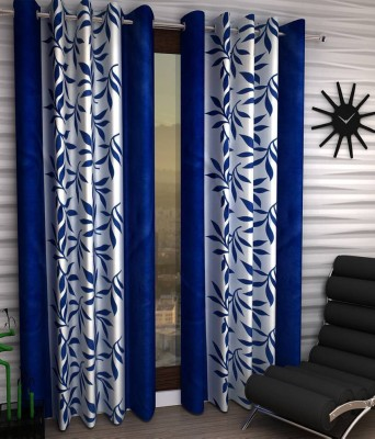 PHF Polyester Blue Floral Eyelet Long Door Curtain