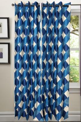 Valtellina Polycotton Blue Abstract Eyelet Door Curtain