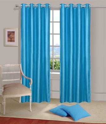 Fogg Polyester Blue Solid Eyelet Door Curtain
