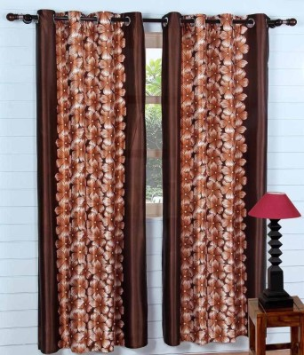 Fab Ferns Polyester Brown Floral Eyelet Window & Door Curtain