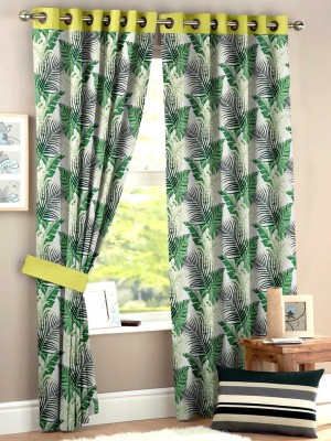HOMEC Polyester Green Floral Eyelet Window & Door Curtain