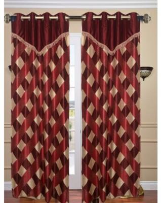 Swastik Polycotton Multicolor Checkered Eyelet Long Door Curtain