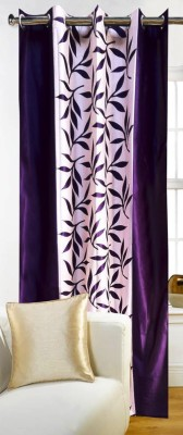 FriendClub Polyester Purple Printed Eyelet Long Door Curtain