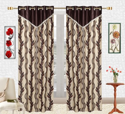 Comfort Zone Polyester Leaf Brown And Golden Abstract Eyelet Long Door Curtain