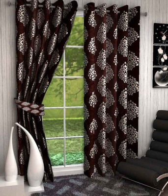 Chaitnya Handloom Polyester Brown Motif Eyelet Door Curtain