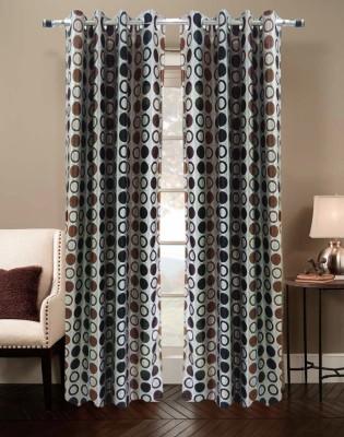 Urban Arts Polyester Brown Striped Eyelet Long Door Curtain