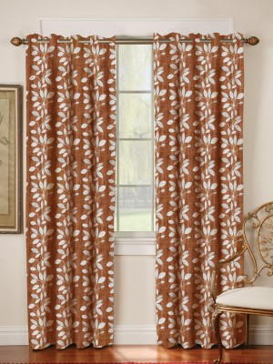 Mahamantra Polyester Brown Floral Eyelet Window Curtain