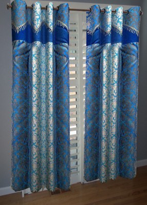 KANHA Polyester Blue Abstract Eyelet Long Door Curtain