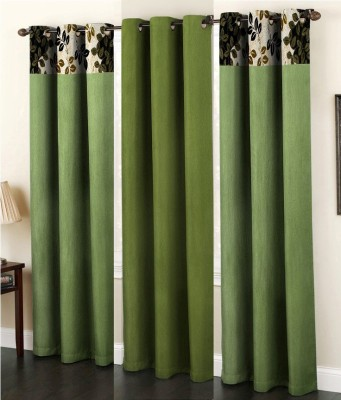 La elite Polyester Green Abstract Eyelet Long Door Curtain
