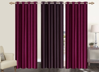 Furnishing Zone Polyester Maroon, Brown Plain Eyelet Long Door Curtain