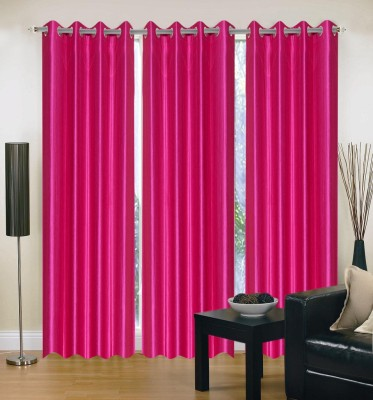 Brand Decor Polyester Pink Solid Eyelet Door Curtain