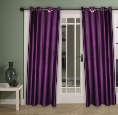 HOME AID Satin Purple Plain Ring Rod Long Door Curtain