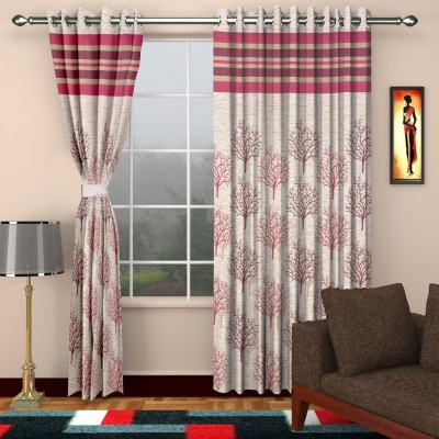 JH Jacquard Pink Self Design Eyelet Door Curtain
