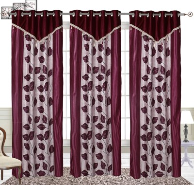 Comfort Zone Polyester Maroon And White Betal Leaf Abstract Eyelet Long Door Curtain