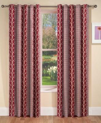 AJ Interior Polyester Maroon Printed Eyelet Door Curtain