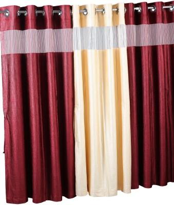 Store17 Polyester Aqua Self Design Ring Rod Window Curtain