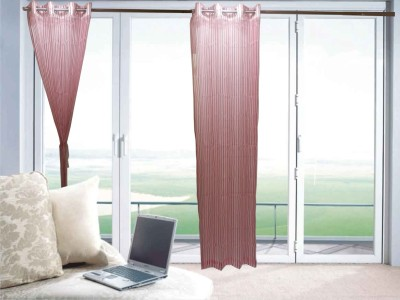 Furnishing Centre Polyester Pink Striped Eyelet Window Curtain