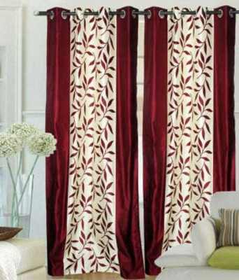 HOMEDECORHD Polyester Maroon, White Solid Curtain Door Curtain