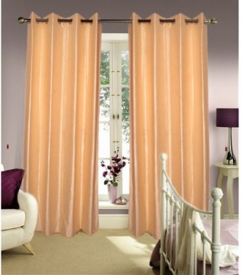 Home And Craft Polyester Beige Floral Eyelet Door Curtain