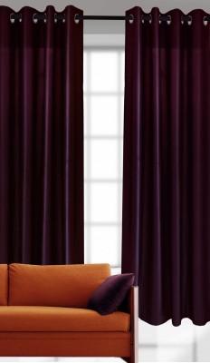 India Furnish Polyester Lavender Plain Eyelet Door Curtain